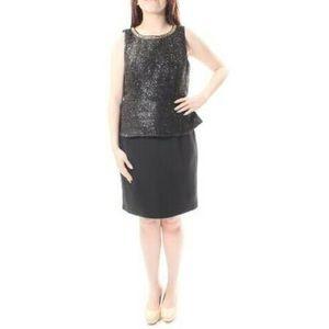 Spense Gold neckline sparkle peplum Dress